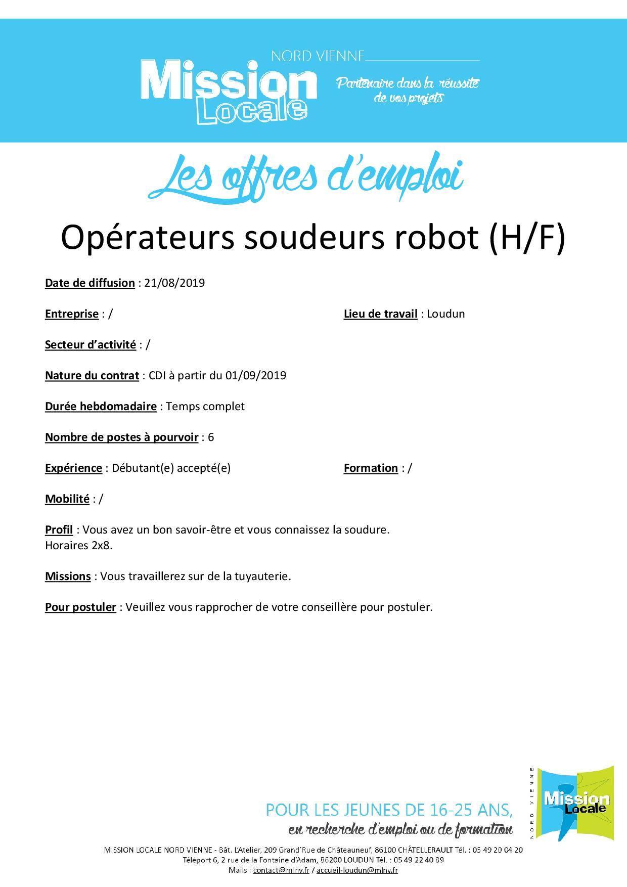 Opérateur soudeur robot (H/F)