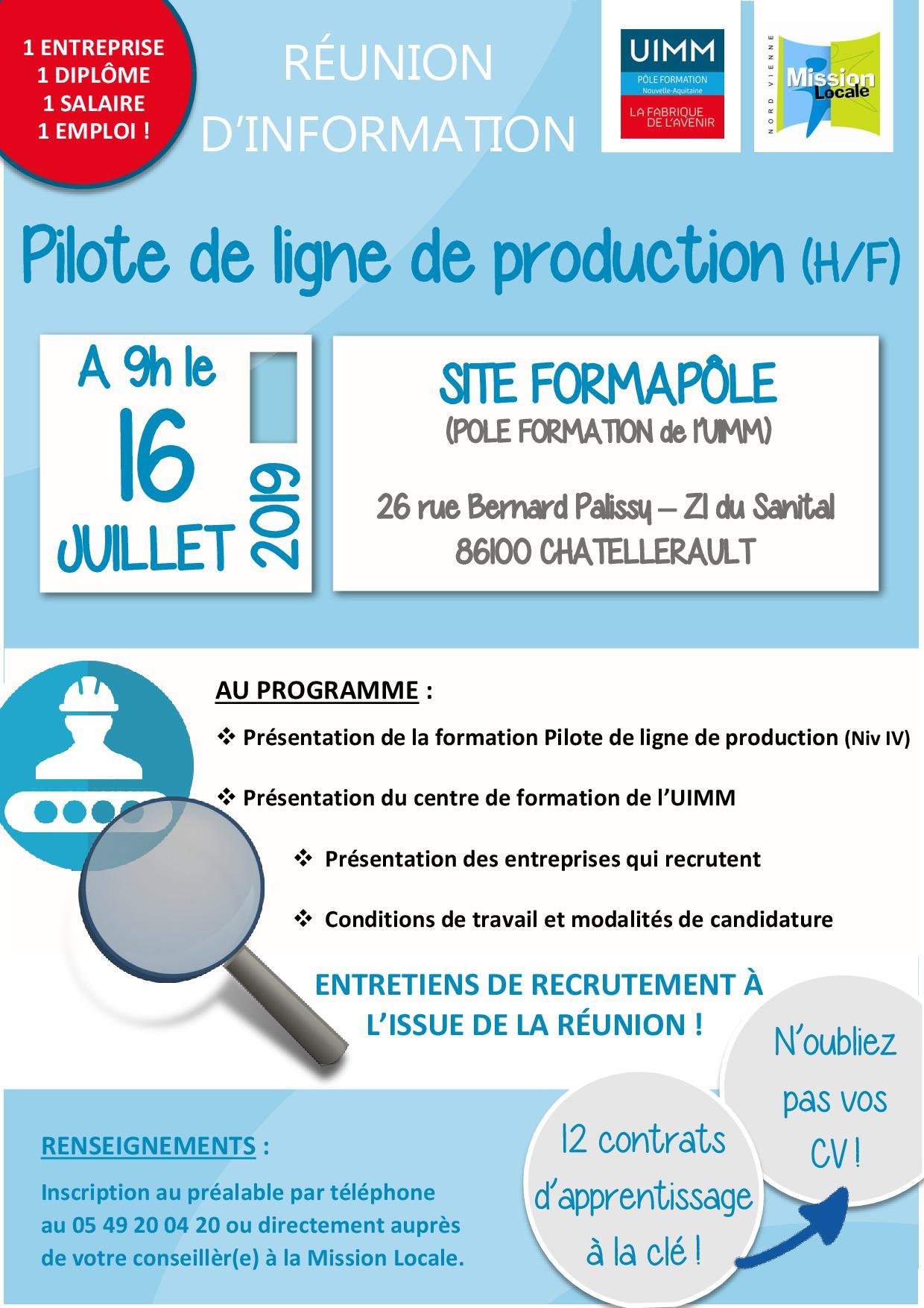 RÉUNION D'INFORMATION : PILOTE DE LIGNE DE PRODUCTION (H/F) avec l'UIMM, 16/07/2019