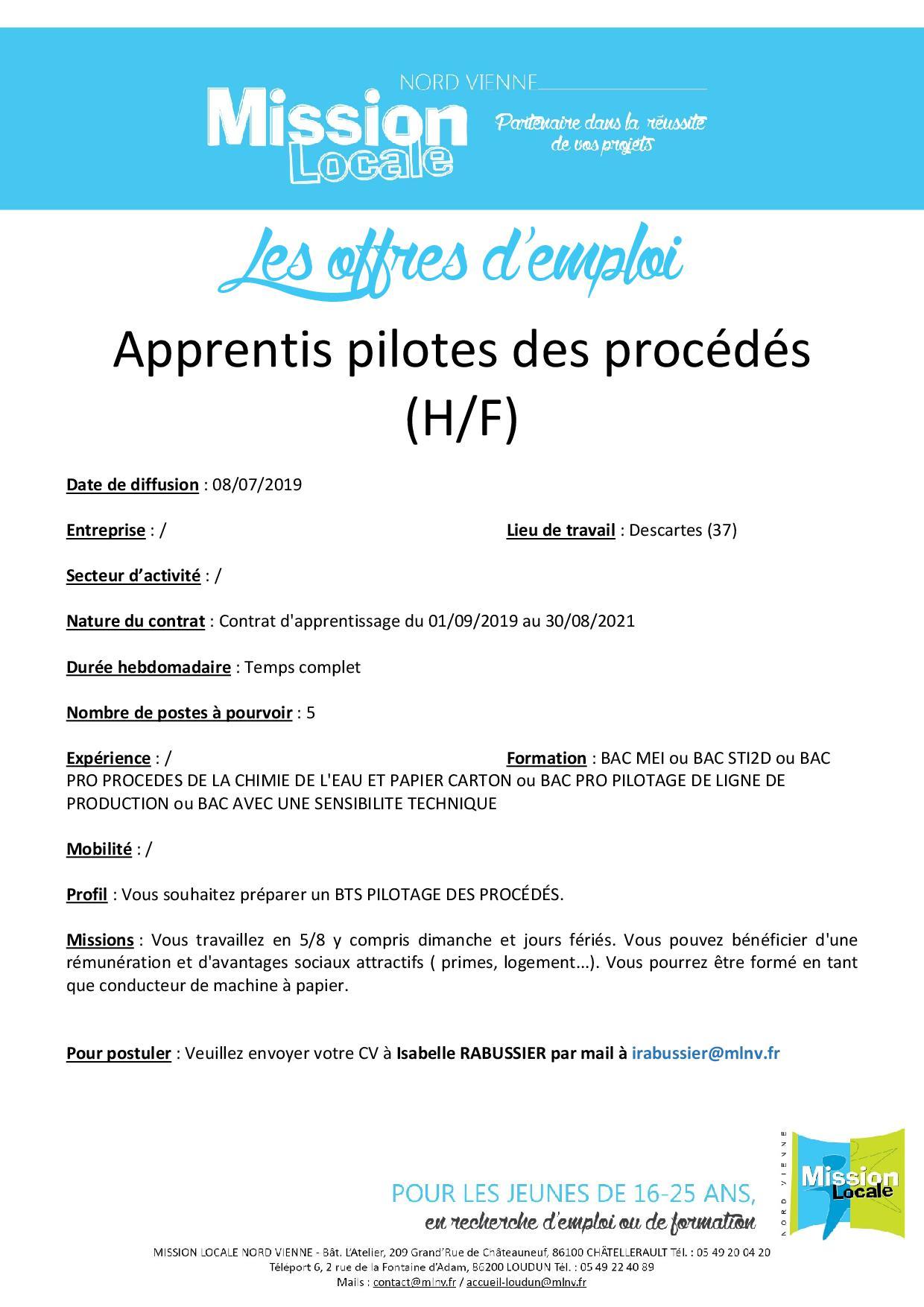 Apprentis pilotes des procédés (H/F)