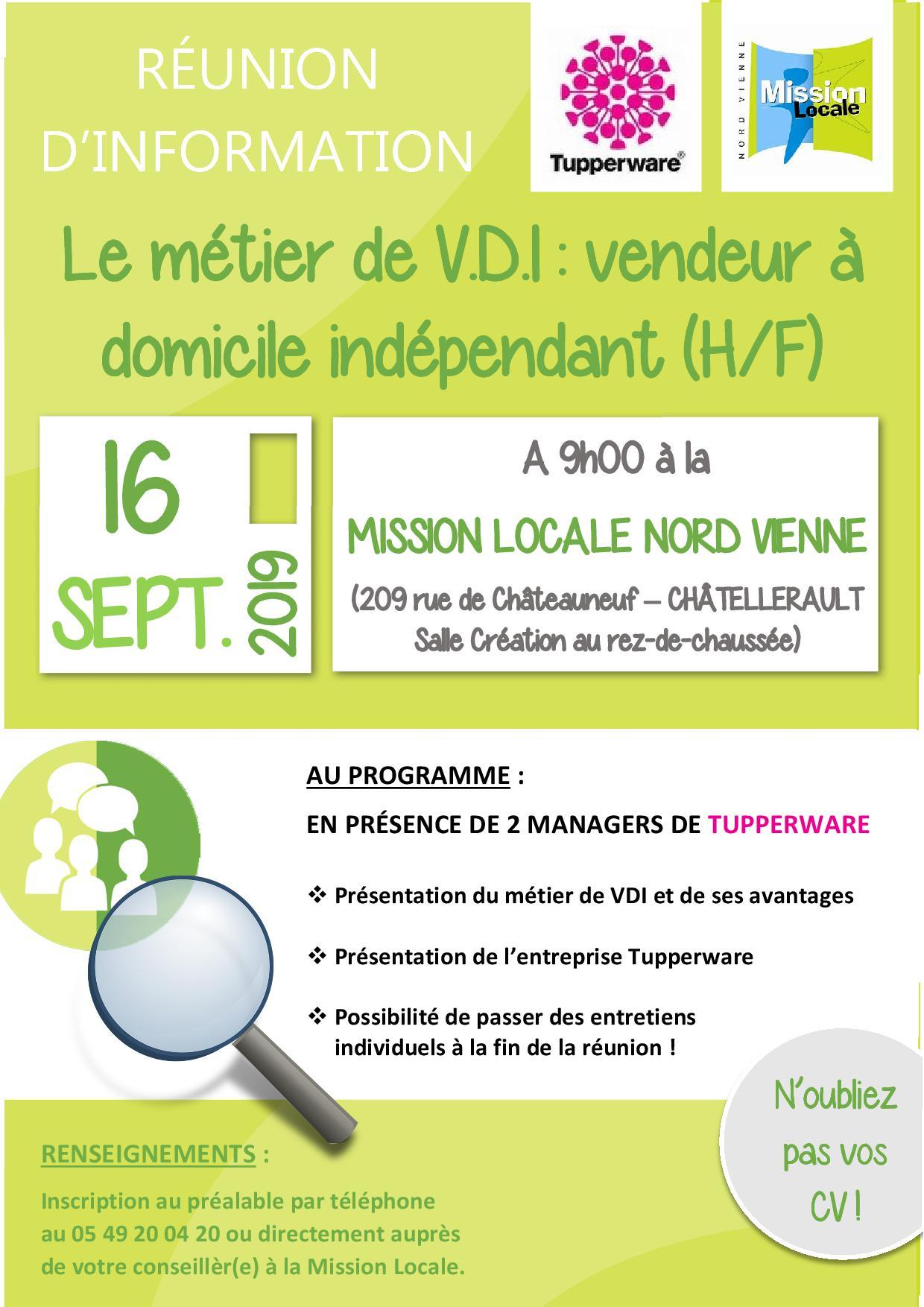 RÉUNION D'INFORMATION : Le métier de V.D.I (H/F) – 16 septembre 2019