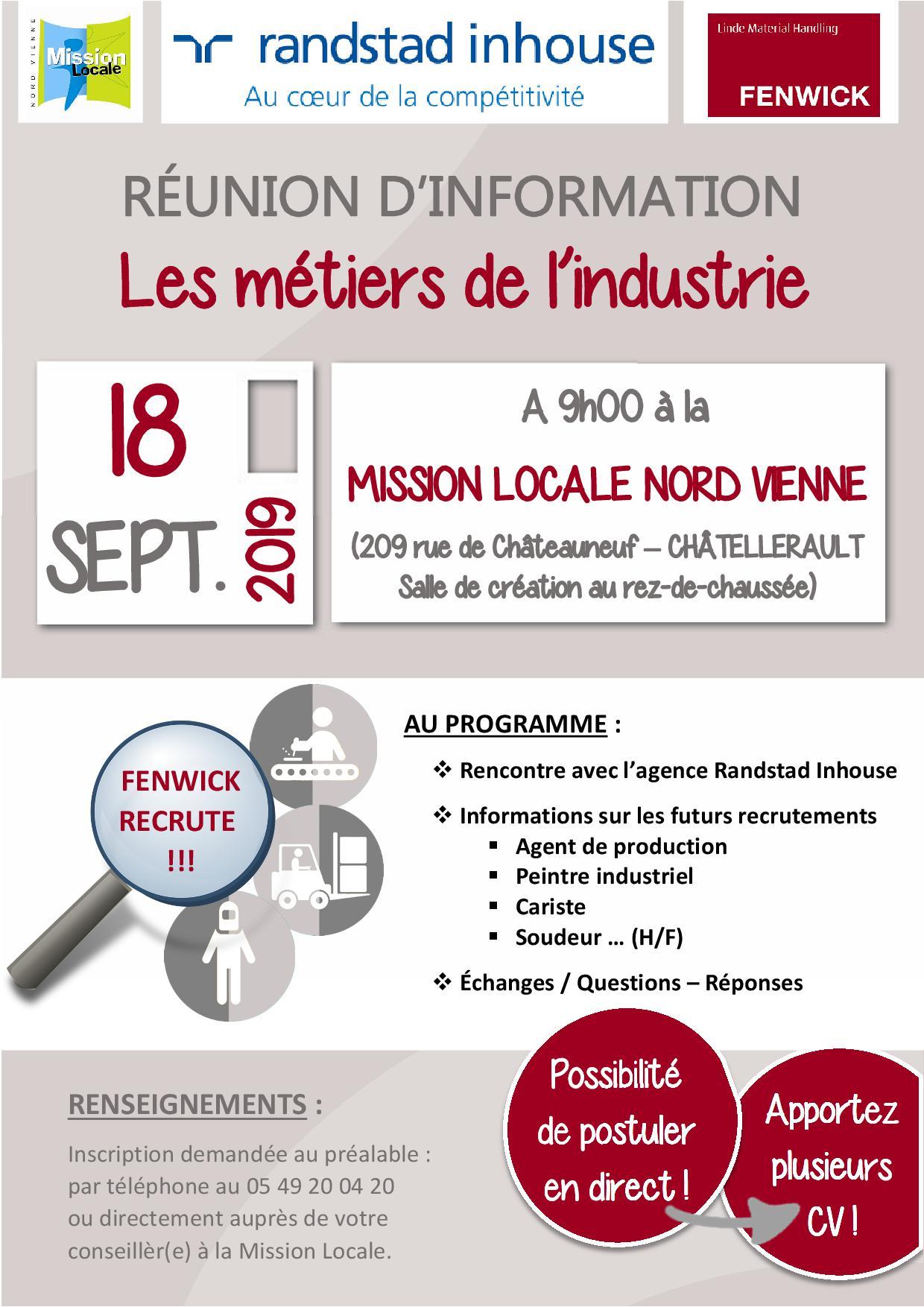RÉUNION D'INFORMATION : Les métiers de l'industrie – 18 septembre 2019