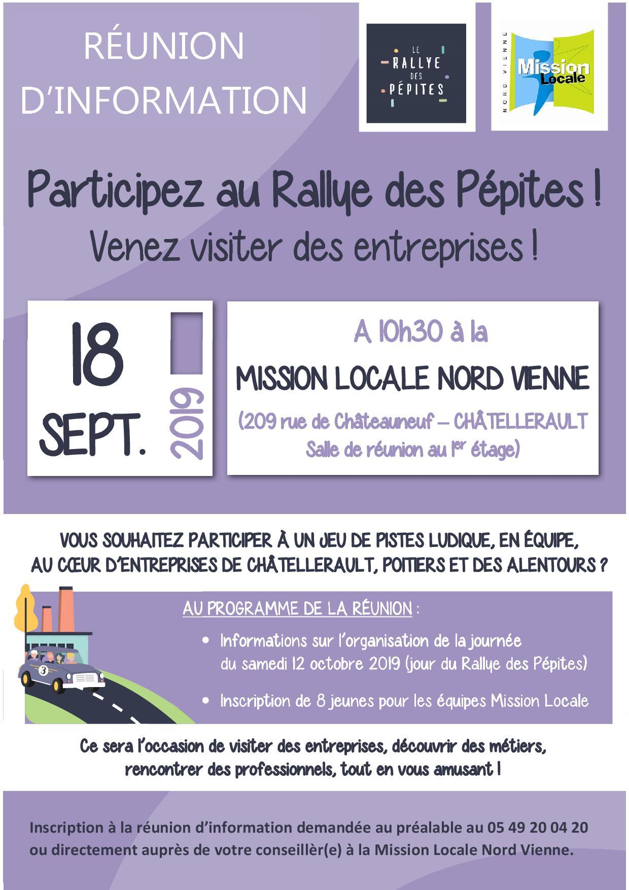RÉUNION D'INFORMATION : Participez au Rallye des Pépites ! 18 septembre 2019