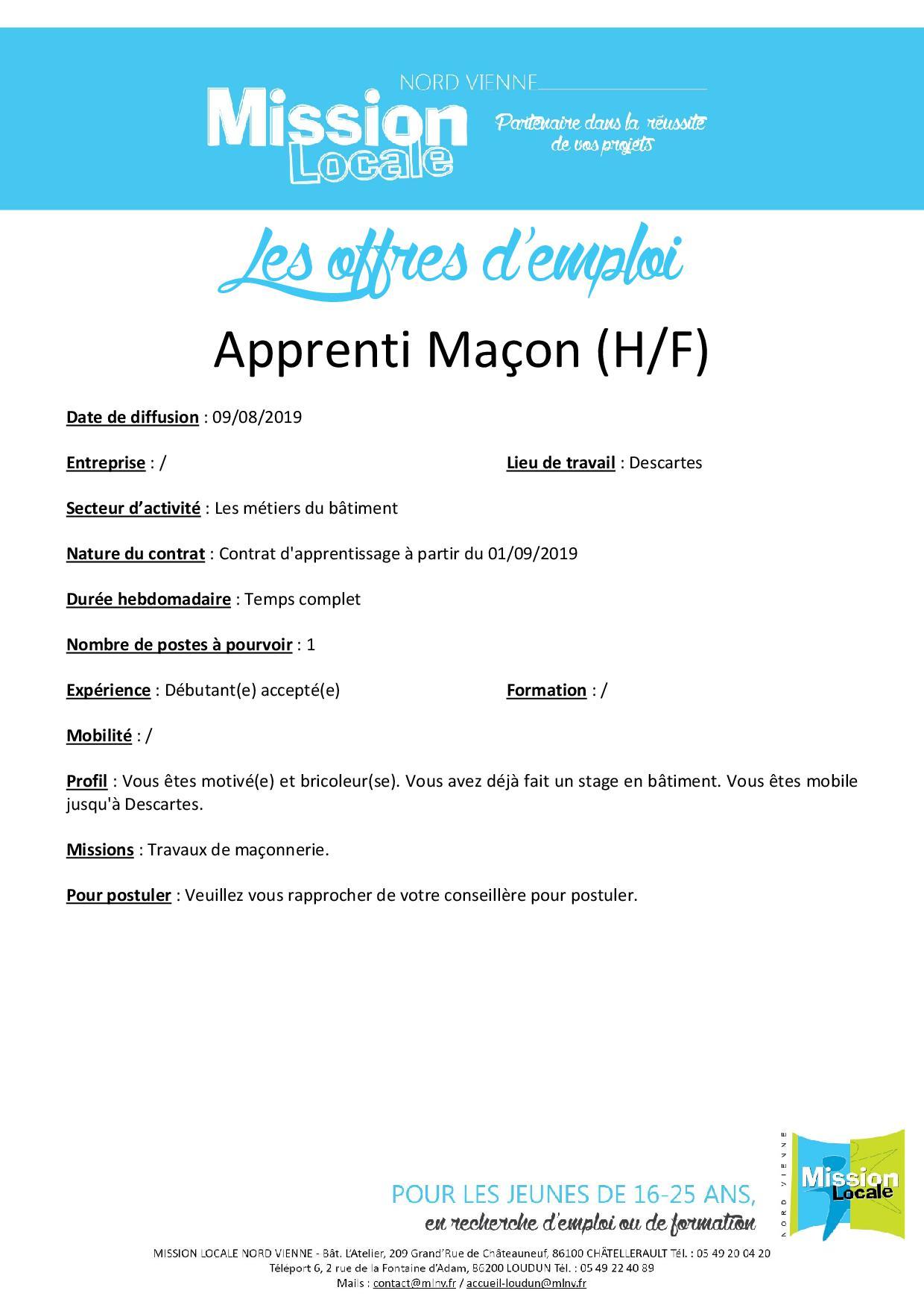 Apprenti maçon (H/F)