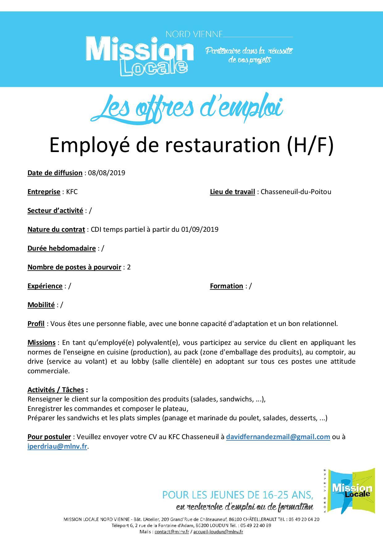 Employé de restauration (H/F)