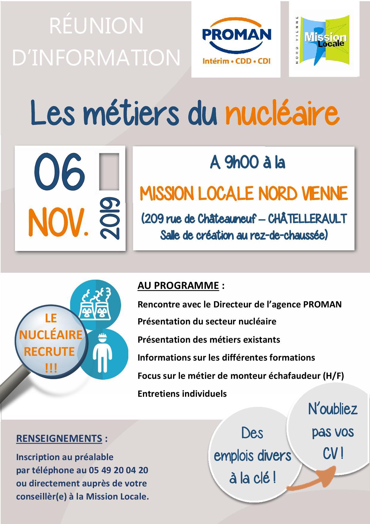 RÉUNION D'INFORMATION : Les métiers du nucléaire