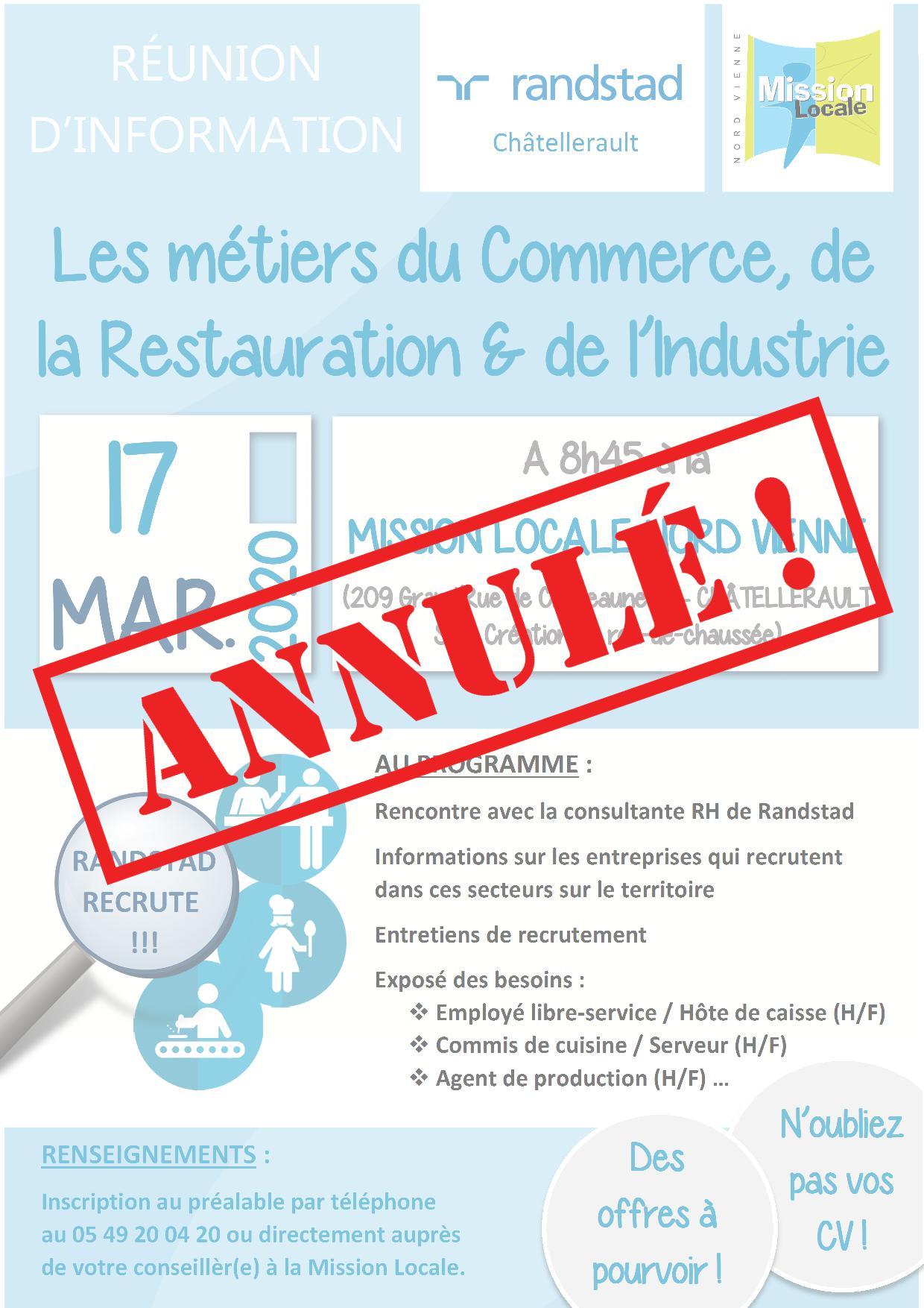 🚨 ANNULÉ – Réunion d'information : Les métiers du commerce, de la restauration et de l'industrie