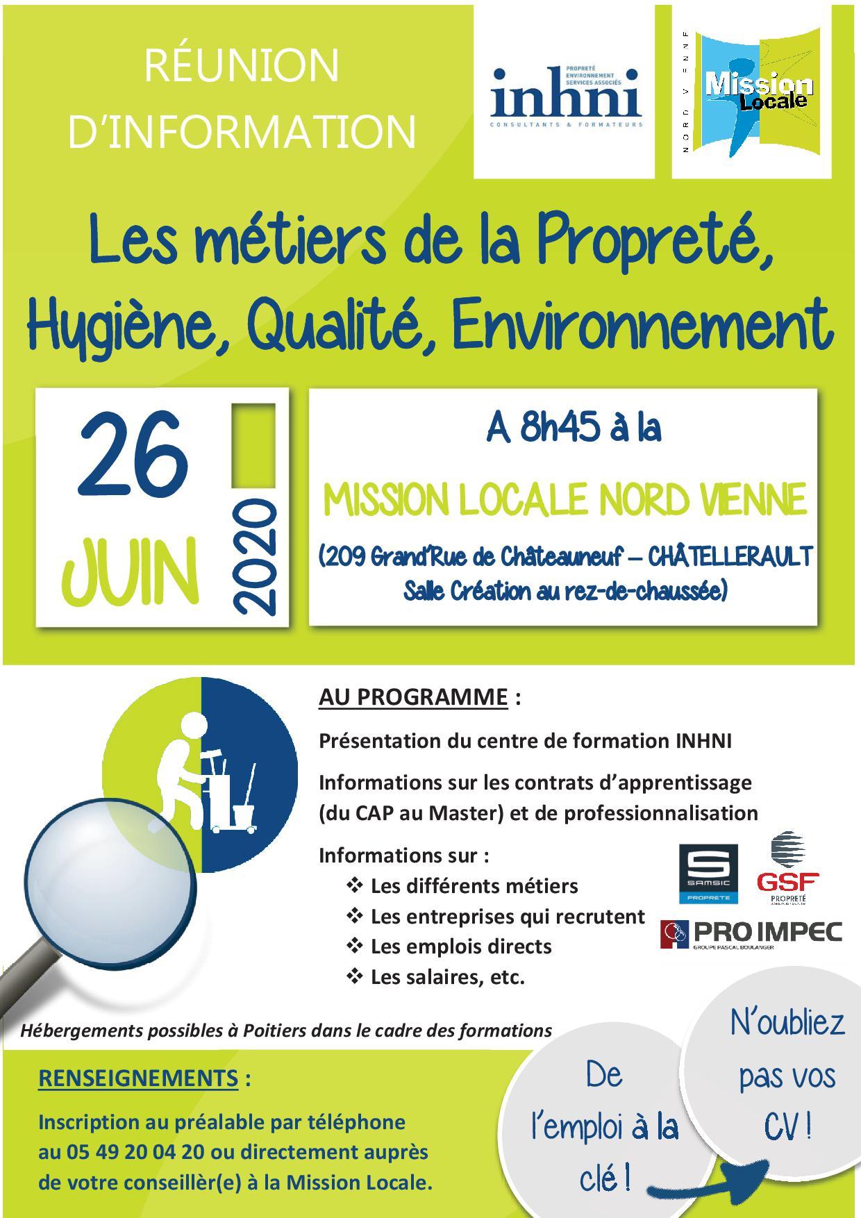 RÉUNION D'INFORMATION : Les métiers de la propreté, hygiène, qualité, environnement
