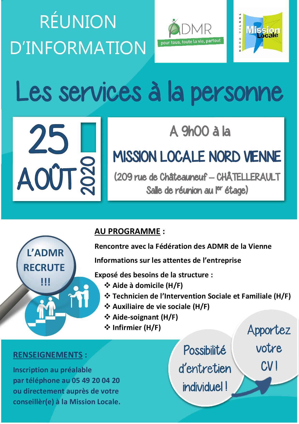 RÉUNION D'INFORMATION : Les métiers du service à la personne