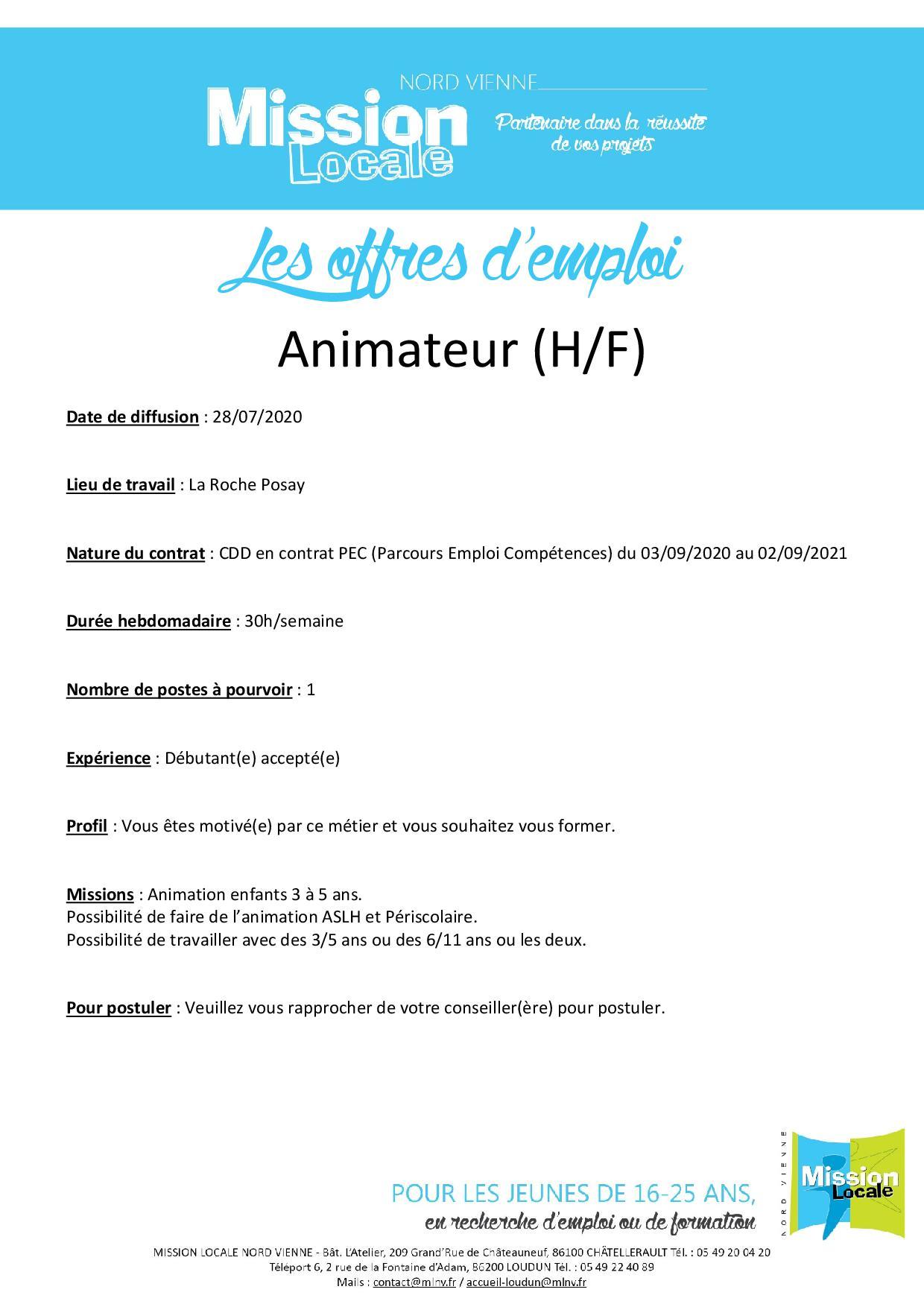 Animateur (H/F)