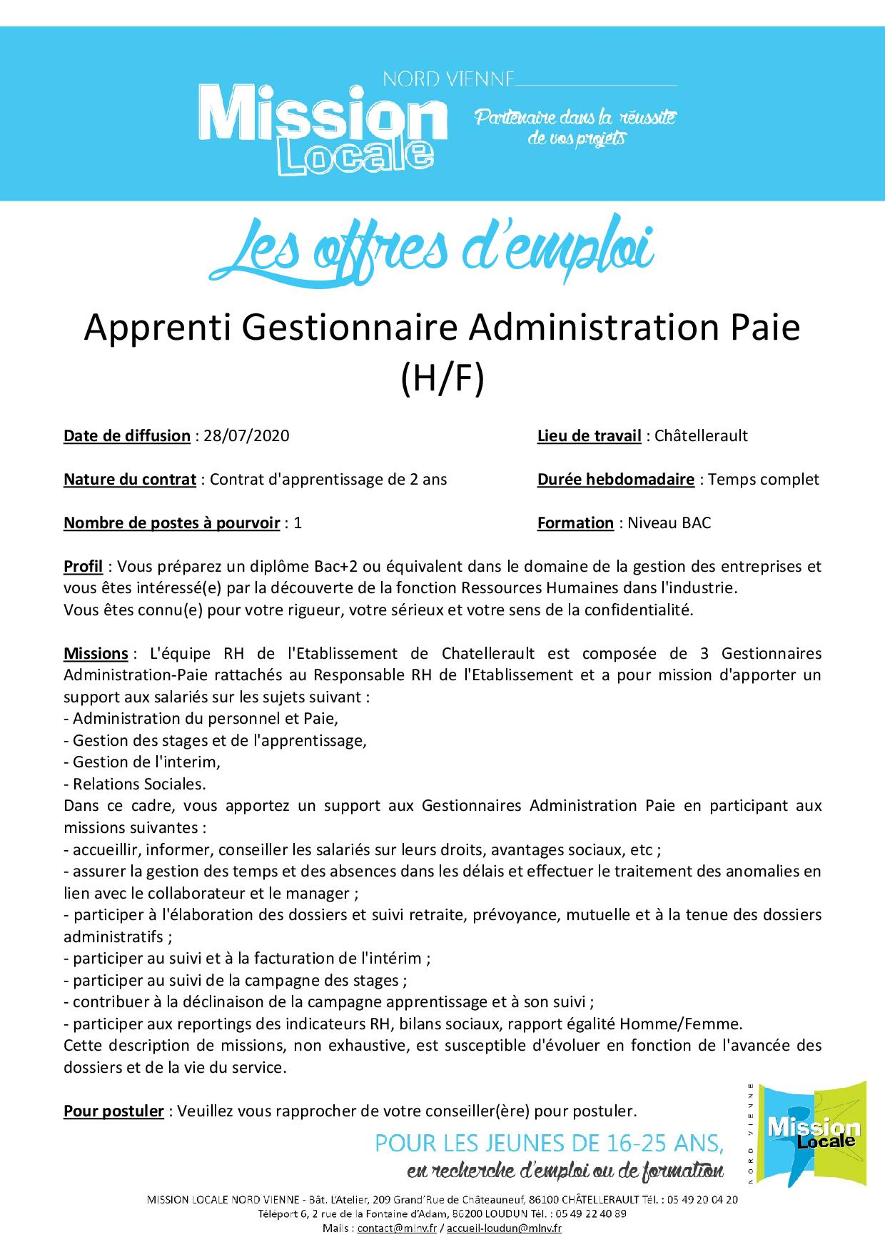 Apprenti Gestionnaire Administration Paie (H/F)