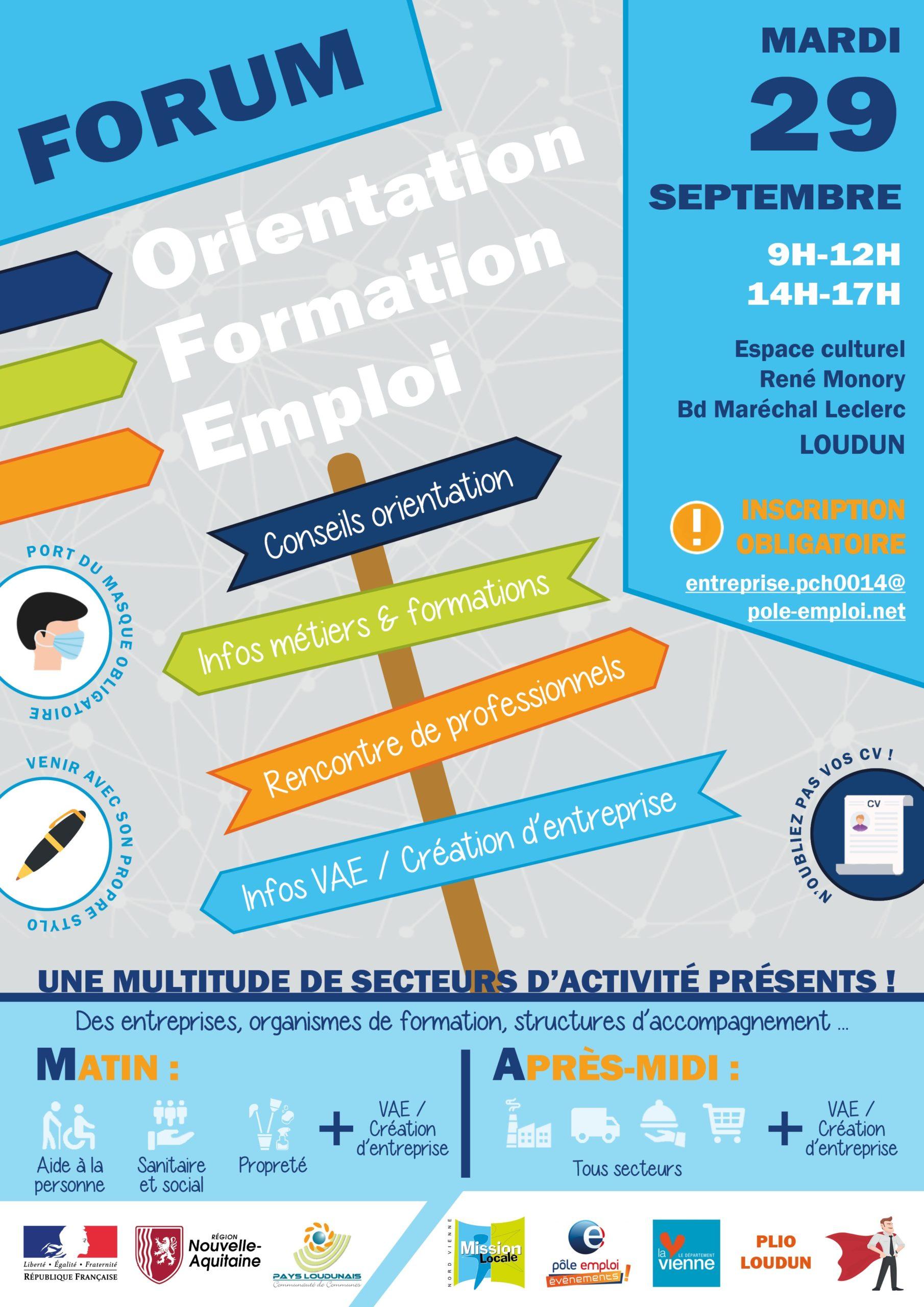 Forum Orientation Formation Emploi – 29 septembre 2020 à Loudun