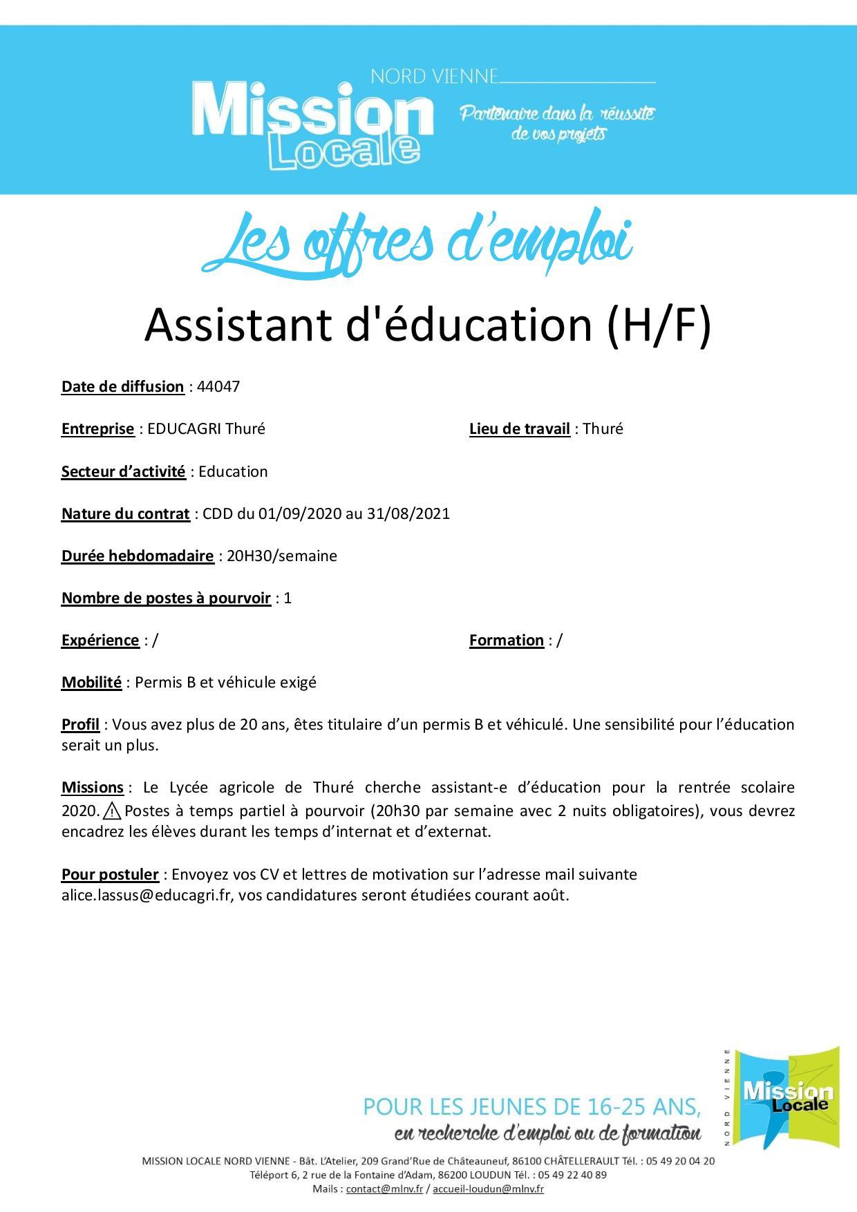 Assistant d'éducation (H/F)