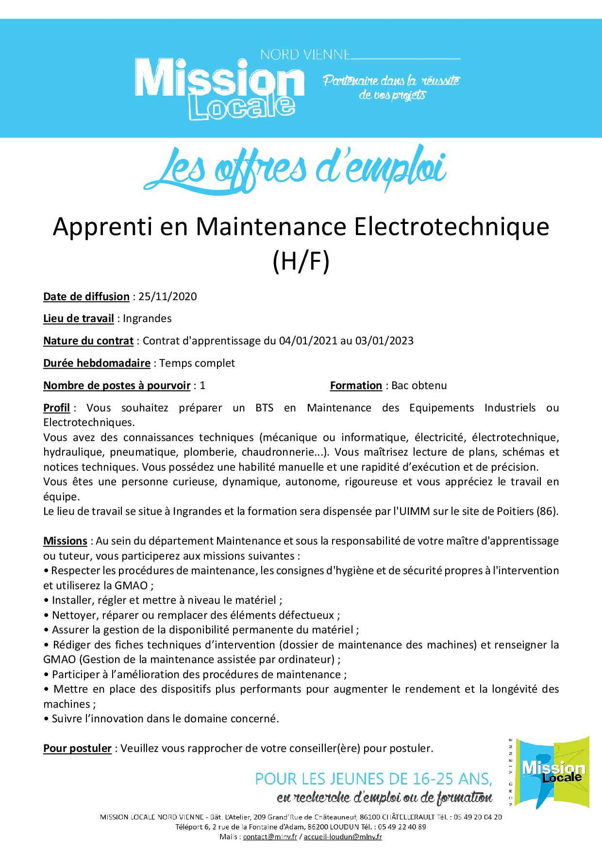 Apprenti en Maintenance Electrotechnique (H/F)