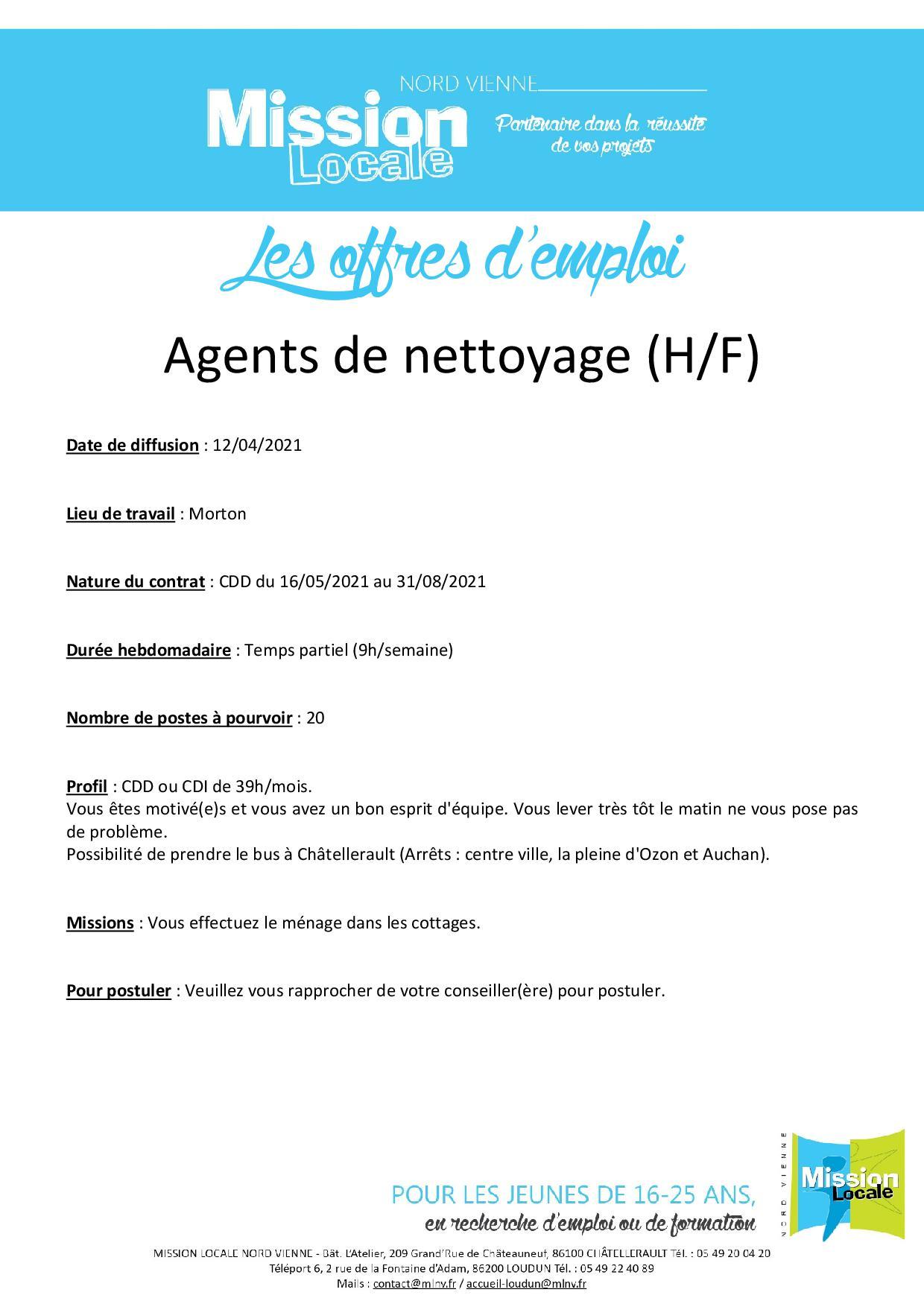 Agents de nettoyage (H/F)