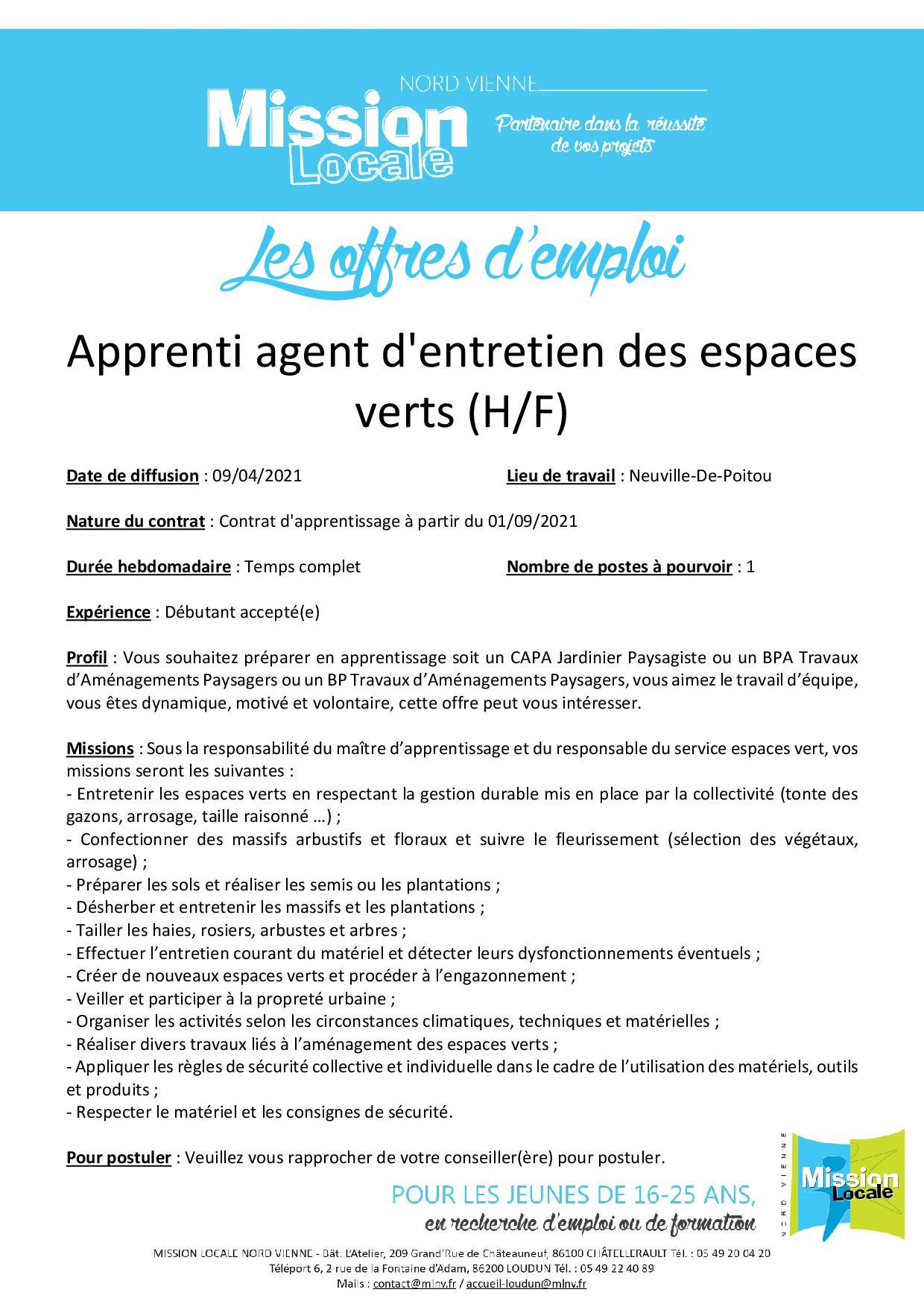 Apprenti agent d'entretien des espaces verts (H/F)