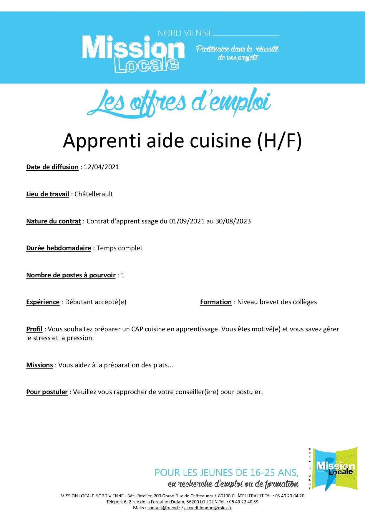 Apprenti aide cuisine (H/F)