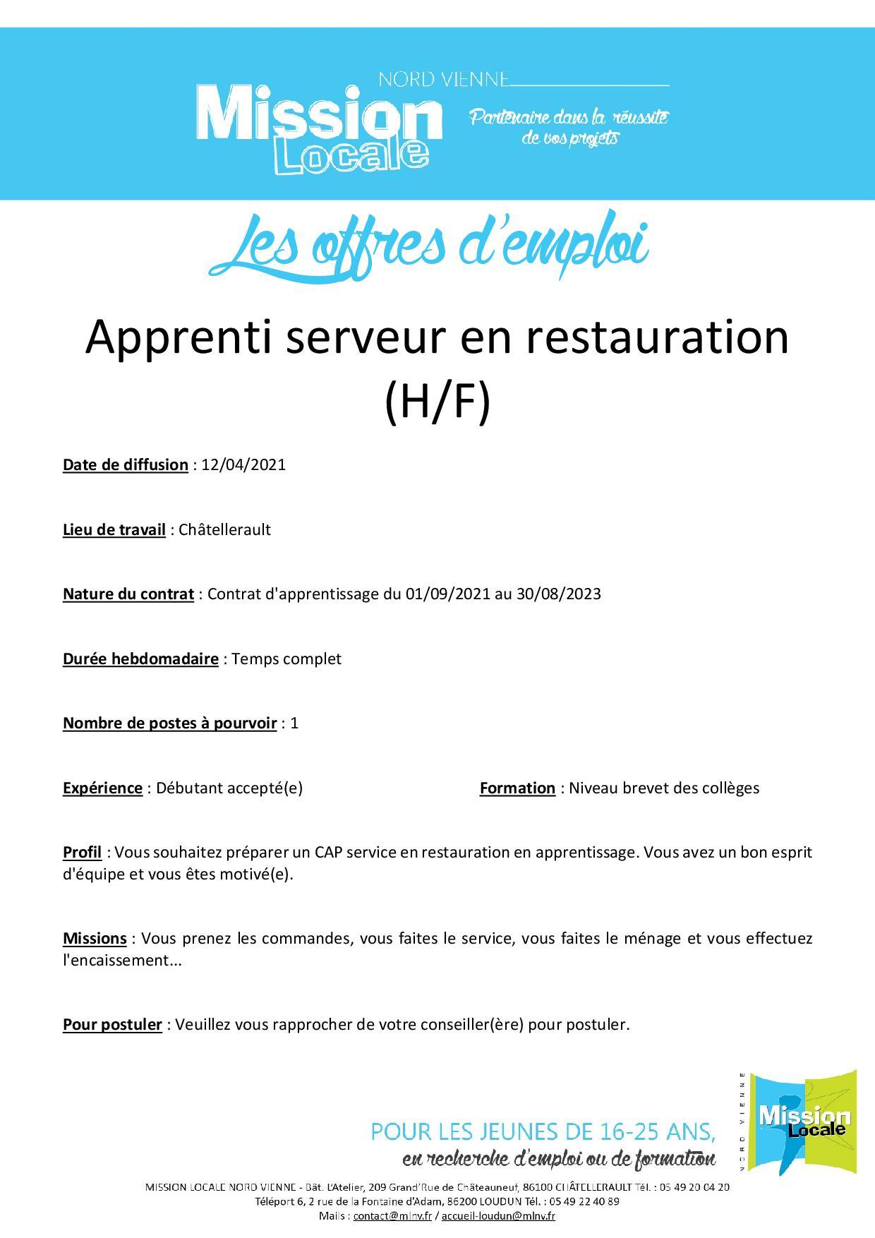 Apprenti serveur en restauration (H/F)