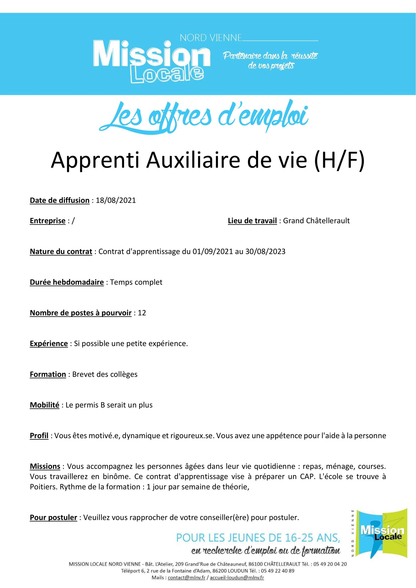 Apprenti Auxiliaire de vie (H/F)