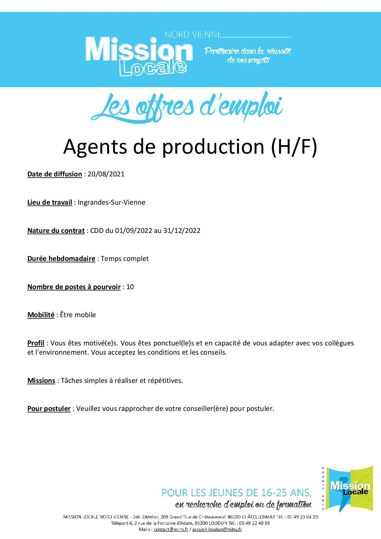 Agents de production (H/F)
