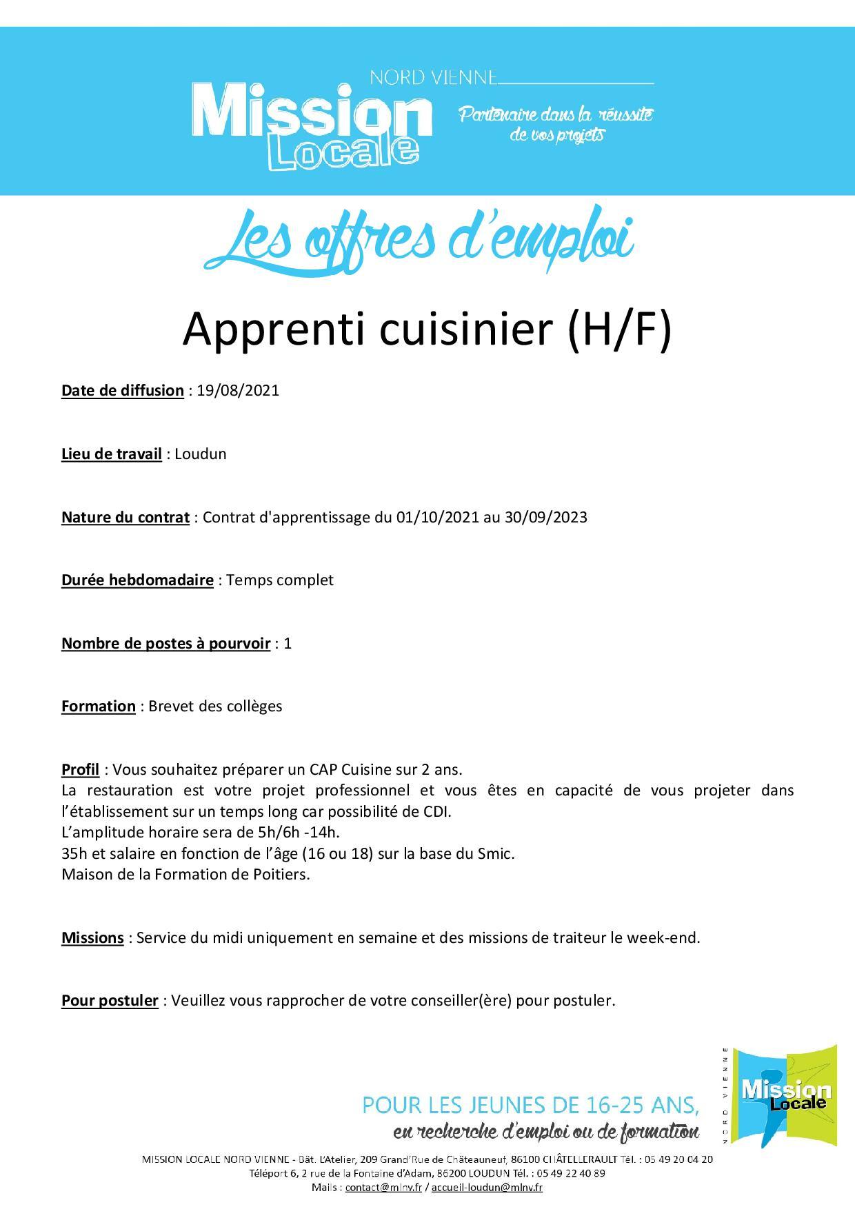 Apprenti cuisinier (H/F)