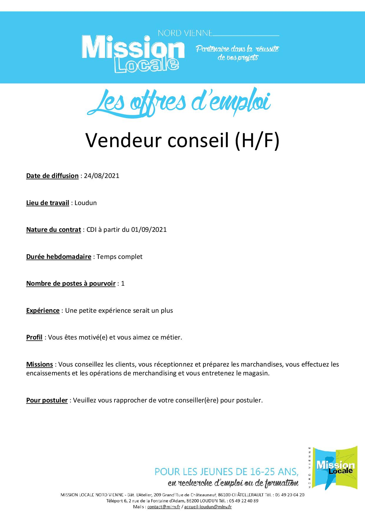 Vendeur conseil (H/F)