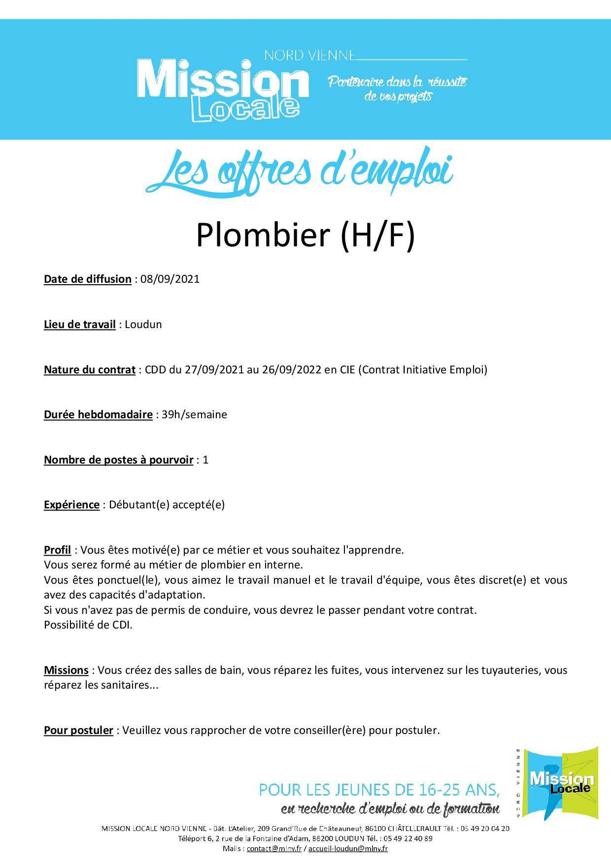 Plombier (H/F)